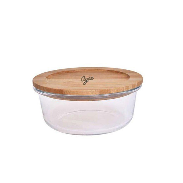 Agee Glass Container with Bamboo Lid, 400ml