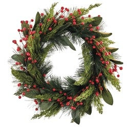 Christmas Festive Red Berry Wreath with LED Lights