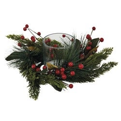 Christmas Festive Red Berry Candle Surround, 10cm