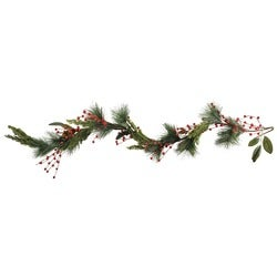 Christmas Festive Red Berries Garland, 127cm