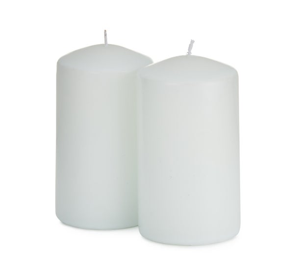 Momento Pillar Candles, White, 2 Pack, 12cm