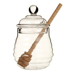 Momento Honey Pot with Wood Dipper, 13cm