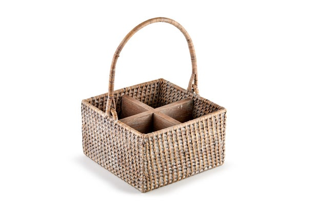 Momento Belize Rattan Condiment Basket, White Wash